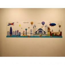 Sihirli Kağıt İstanbul Silüet Renkli 175x50cm