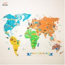 Sihirli Kağıt Dünya Gezi Rotaları Haritası Şeffaf Kağıt Üzerine Renkli Baskı 150x100cm