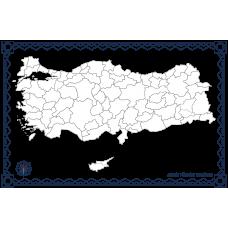 Sihirli Kağıt Dilsiz Türkiye Haritası Şeffaf Kağıt Üzerine Baskı 150x87cm