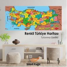 Sihirli Kağıt Türkiye Haritası Beyaz Kağıt Üzerine Renkli Baskı 118x56cm