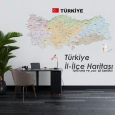 Sihirli Kağıt Türkiye İl ve İlçe Haritası Şeffaf Kağıt Üzerine Renkli Baskı 150x70cm