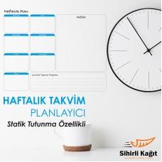 Sihirli Kağıt Haftalık Takvim Planlayıcı Statik Tutunma Özellikli Yapıştırma Gerektirmez 70x56cm