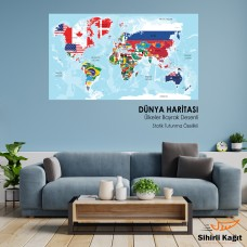 Sihirli Kağıt Dünya Haritası Beyaz Kağıt Üzerine Renkli Baskı Ülkeler Bayrak Desenli 117x70cm