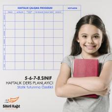 Sihirli Kağıt 5-6-7-8'inci Sınıf Haftalık Ders Planlayıcı Statik Tutunma Özellikli Yapıştırma Gerektirmez 120x100cm