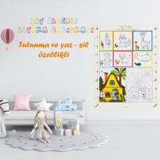 Sihirli Kağıt Boyama ve Çizgi Çalışması Renkli Boy Ölçerli 72x100cm