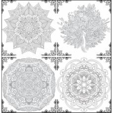 Sihirli Kağıt Yazı Tahtası Mandala Mozaik 4 Adet 53x53cm