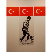 Sihirli Kağıt Atatürk Kocatepe Buzlu Kağıt Üzerine Baskı Statik Tutunma Özellikli Yapıştırma Gerektirmez 56x114cm