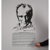 Sihirli Kağıt Atatürk Köşesi Buzlu Zemin Üzerine Baskı Statik Tutunma Özellikli Yapıştırma Gerektirmez