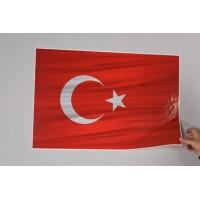 Sihirli Kağıt Türk Bayrağı Dalgalı Statik Tutunma Özellikli Yapıştırma Gerektirmez 71x47cm 2'li