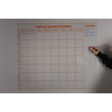 Sihirli Kağıt 9-10-11-12'nci Sınıf Haftalık Ders Planlayıcı Statik Tutunma Özellikli Yapıştırma Gerektirmez 120x100cm