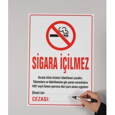 Sihirli Kağıt Sigara İçilmez Uyarısı 35,5x50cm 5'li