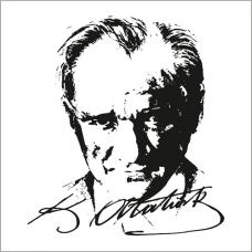 Sihirli Kağıt Atatürk Siluet Şeffaf Kağıt Üzerine Baskı Statik Tutunma Özellikli Yapıştırma Gerektirmez 93x100cm