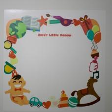 """Sihirli Kağıt Yazı Tahtası Çocuk Odası İçin Tasarlanmış Kişiselleştirilebilir """"Ece'nin Hayal Dünyası"""" 100x100cm 2'li"""