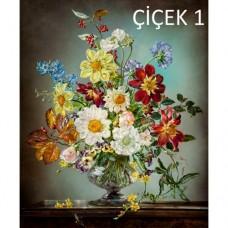 Sihirli Kağıt Tablo Çiçek Şenliği 1 Statik Tutunma Özellikli Yapıştırma Gerektirmez 57x70cm