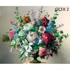 Sihirli Kağıt Tablo Çiçek Şenliği 2 Statik Tutunma Özellikli Yapıştırma Gerektirmez 70x57cm