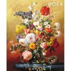Sihirli Kağıt Tablo Çiçek Şenliği 4 Statik Tutunma Özellikli Yapıştırma Gerektirmez 57x70cm