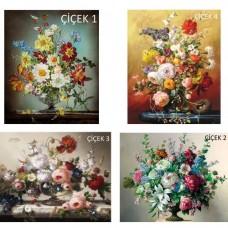 Sihirli Kağıt Tablo Çiçek Şenliği Set Statik Tutunma Özellikli Yapıştırma Gerektirmez 4'lü