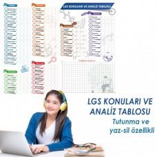 Sihirli Kağıt LGS Konuları ve Analiz Tablosu Statik Tutunma Özellikli Yapıştırma Gerektirmez 120x100cm