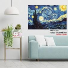 Sihirli Kağıt Tablo Van Gogh Yıldızlı Gece Statik Tutunma Özellikli Yapıştırma Gerektirmez 117x70cm