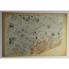 Sihirli Kağıt Piri Reis Haritası Statik Tutunma Özellikli Yapıştırma Gerektirmez 117x78cm