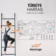 Sihirli Kağıt Türkiye Haritası Statik Tutunma Özellikli Yapıştırma Gerektirmez 93x48cm