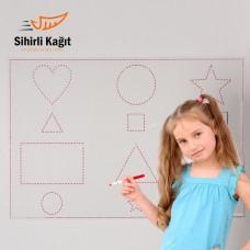 Sihirli Kağıt Yazı Tahtası Çizgi Çalışması Statik Tutunma Özellikli Yapıştırma Gerektirmez 85x56cm