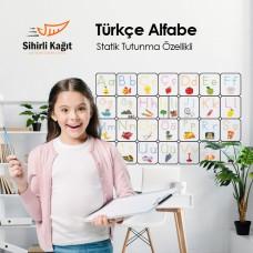 Sihirli Kağıt Türkçe Alfabe Statik Tutunma Özellikli Yapıştırma Gerektirmez 105x70cm