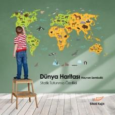 Sihirli Kağıt Dünya Haritası Şeffaf Kağıt Üzerine Renkli Baskı Hayvan Sembollü 150x95cm