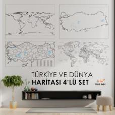 Sihirli Kağıt Türkiye ve Dünya Haritası Set Statik Tutunma Özellikli Yapıştırma Gerektirmez 4'lü