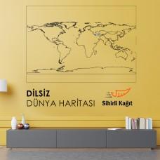Sihirli Kağıt Dilsiz Dünya Haritası Statik Tutunma Özellikli Yapıştırma Gerektirmez 114x56cm