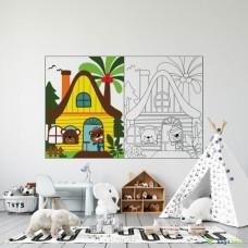 Sihirli Kağıt Yazı Tahtası Boyama Çalışması Ev 150x100cm