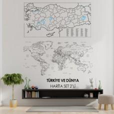 Sihirli Kağıt Türkiye ve Dünya Haritası Set Statik Tutunma Özellikli Yapıştırma Gerektirmez 2'li