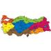 Sihirli Kağıt Türkiye Bölgeler Haritası Şeffaf Kağıt Üzerine Renkli Baskı 150x83cm