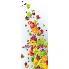 Sihirli Kağıt Dekoratif Perde Karışık Meyve Desenli Mutfak Camlarına Özel Statik Tutunma Özellikli Yapıştırma Gerektirmez