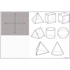 Sihirli Kağıt Yazı Tahtası Geometrik Cisimler ve Koordinat Sistemi 150x100cm