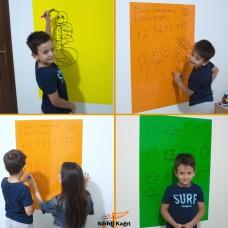 Sihirli Kağıt Renkli Kalın Yazı Tahtası Pratik Statik Tutunma Özellikli Yapıştırma Gerektirmez Sarı Yeşil Turuncu Set 3'lü