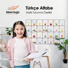 Sihirli Kağıt Türkçe Alfabe Statik Tutunma Özellikli Yapıştırma Gerektirmez 150x100cm