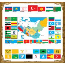 Sihirli Kağıt Türk Devleti Bayrakları Statik Tutunma Özellikli Yapıştırma Gerektirmez 120x125cm